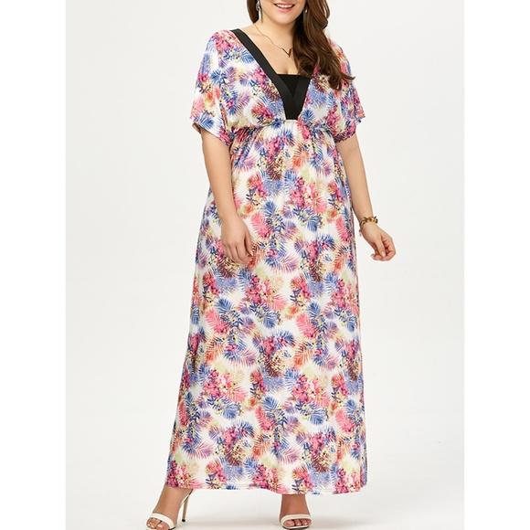 Plus Size Backless Plunge Long Bohemian Dress Boutique